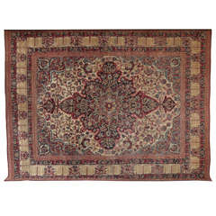Persian Kermanshah Carpet circa 1880 in Handspun Wool and Vegetable Dyes