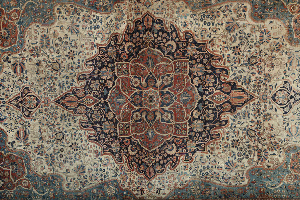 Hand-Knotted Persian Kashan Mohtasham Carpet, circa 1870 For Sale