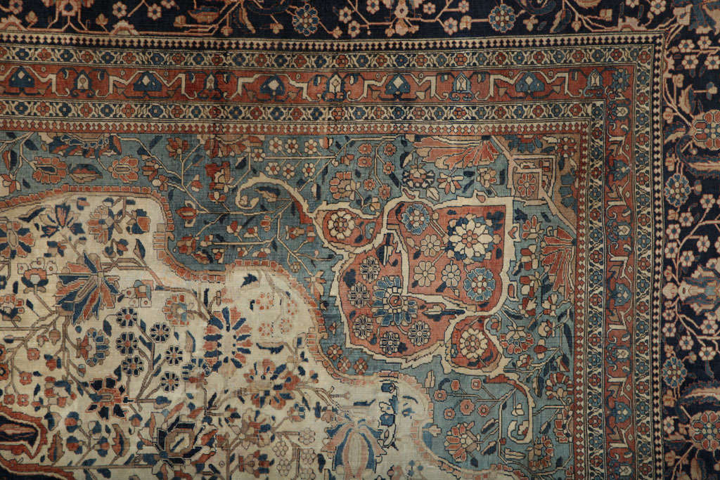 Persian Kashan Mohtasham Carpet, circa 1870 In Excellent Condition For Sale In New York, NY