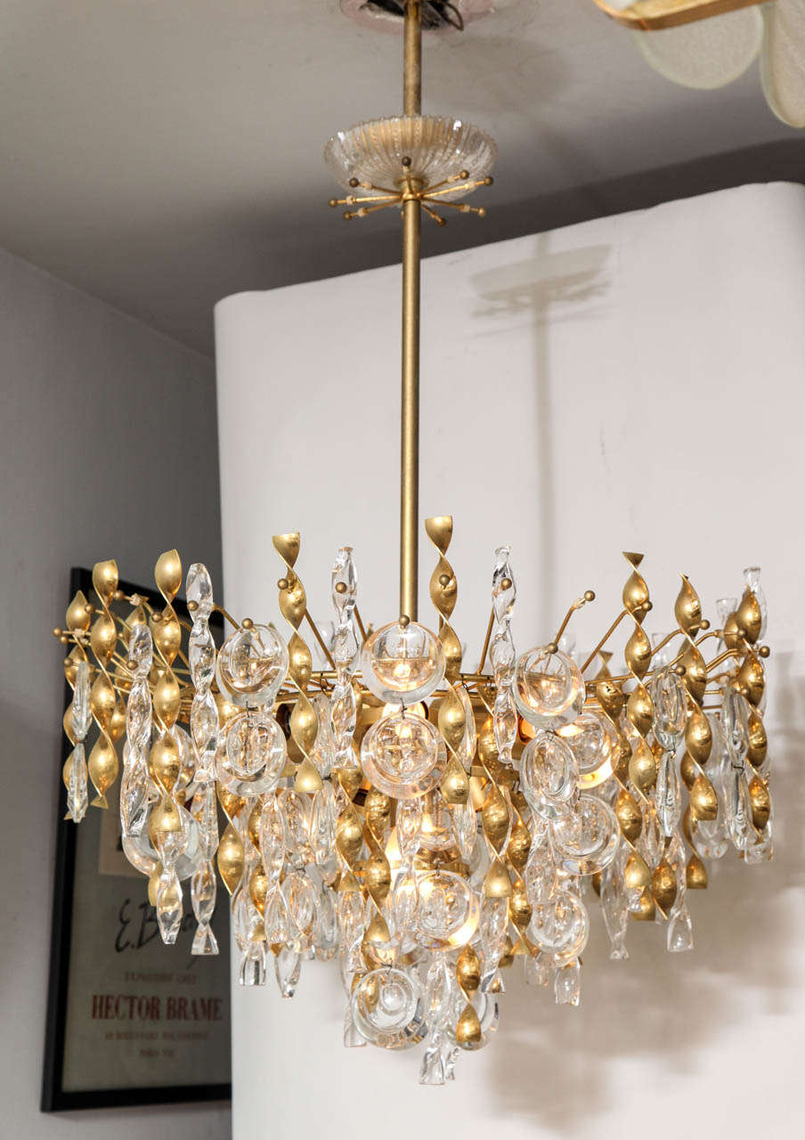Sciolari crystal lens pendant chandelier with glass and brass twists a fabulous jewel like gaetano sciolari pendant chandelier with crystal lens pendants and glass and aloadofball