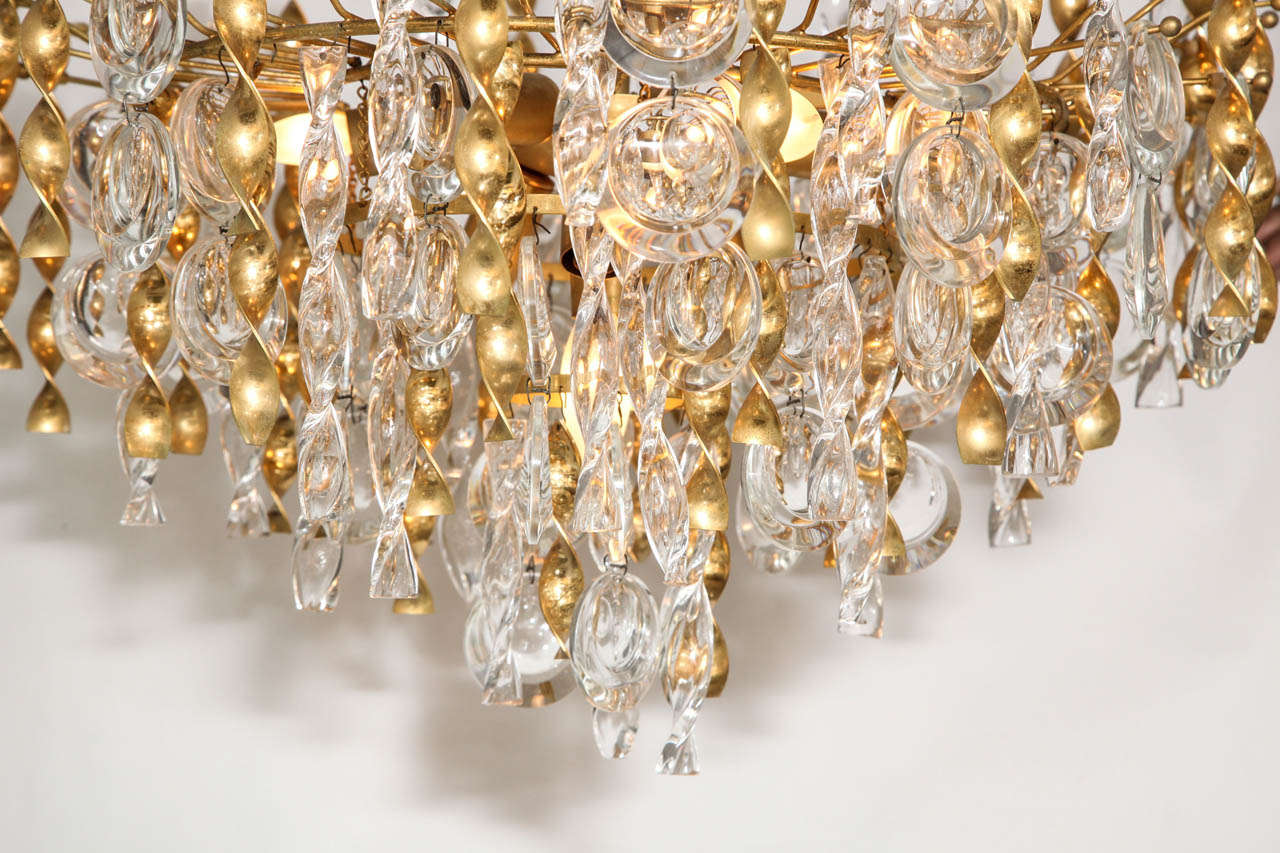 Mid-Century Modern Sciolari Crystal Disc Pendant Chandelier with Glass and Brass Gold Twists For Sale