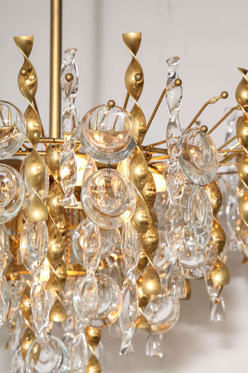 Mid-20th Century Sciolari Crystal Disc Pendant Chandelier with Glass and Brass Gold Twists For Sale