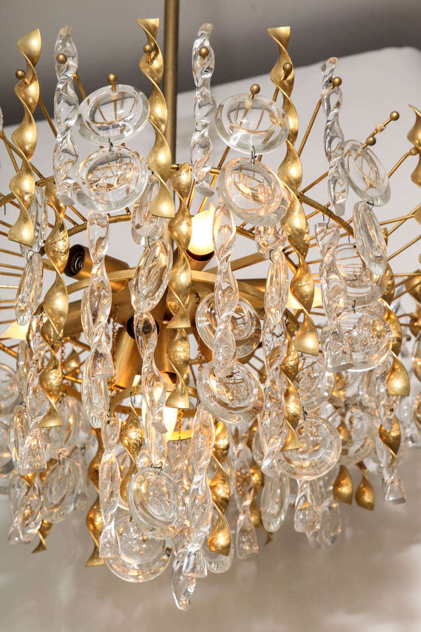 Sciolari Crystal Disc Pendant Chandelier with Glass and Brass Gold Twists For Sale 1
