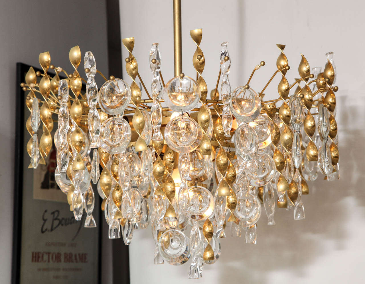 Sciolari Crystal Disc Pendant Chandelier with Glass and Brass Gold Twists For Sale 2