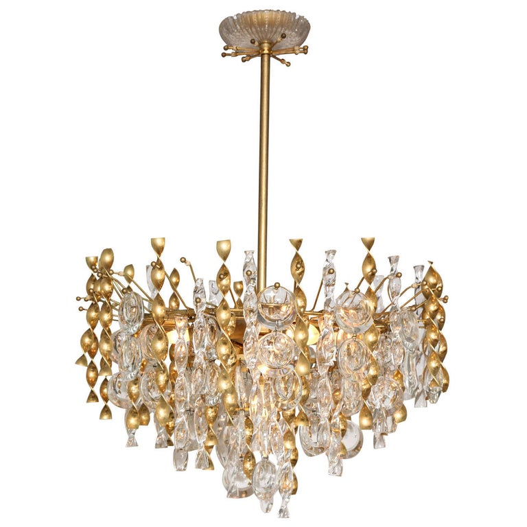 Sciolari Crystal Disc Pendant Chandelier with Glass and Brass Gold Twists For Sale