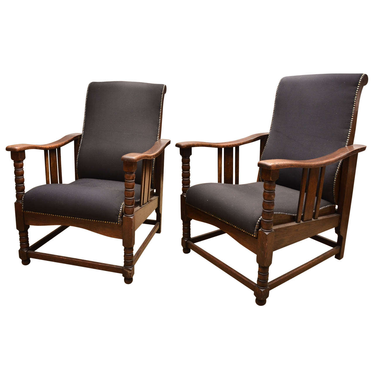 Arts and crafts chairs - 1920s Pair Of Arts Crafts Upholstered Oak Reclining Chairs 1