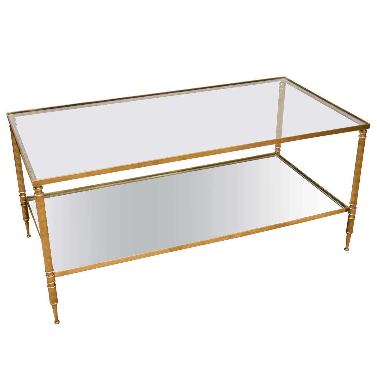 Mid century modern french brass and glass two tier coffee for French glass coffee table