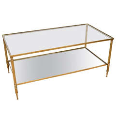 Mid-Century Modern French Brass and Glass Two-Tier Coffee Table