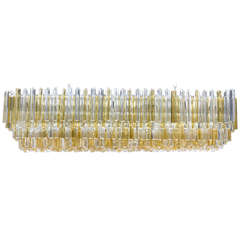 Large Rectangular Italian Murano Gold and Clear Prism Chandelier