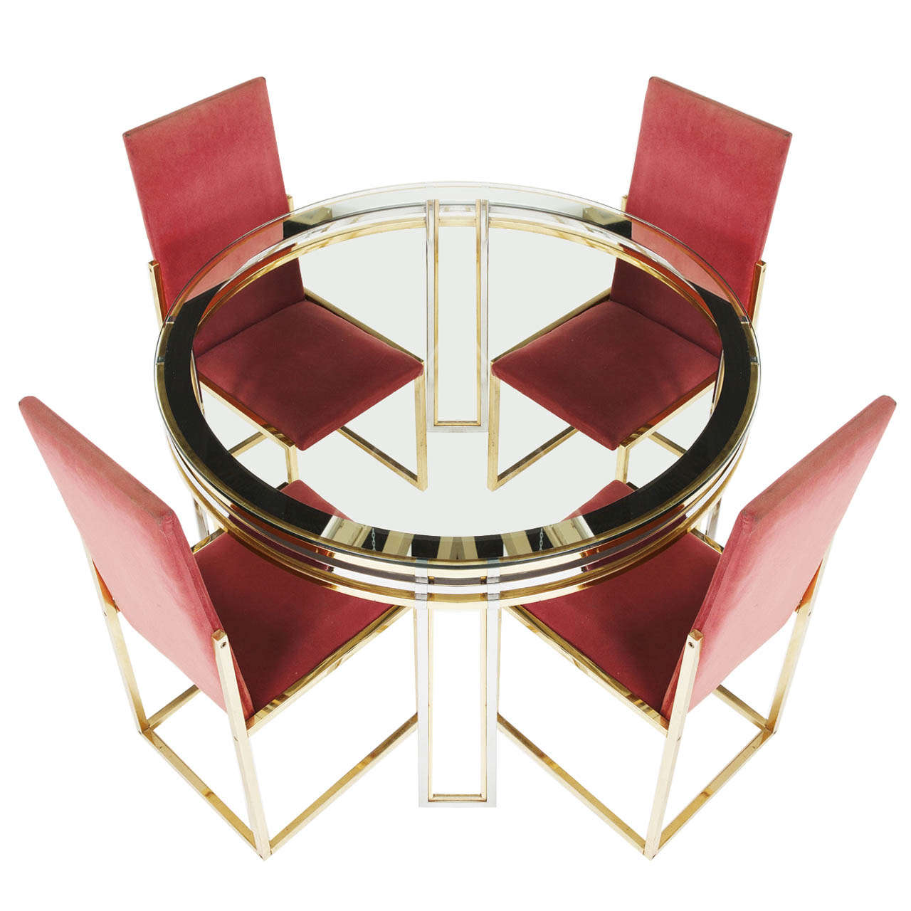 Romeo Rega Centre Table and Chairs in Chrome and Brass