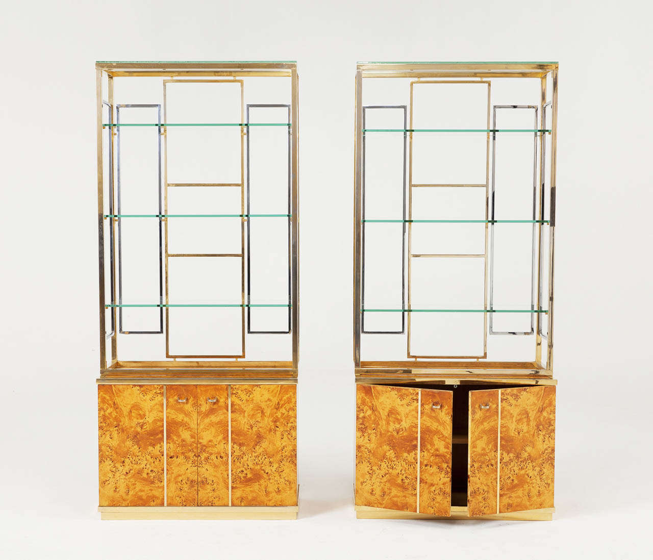 Set Of Two Mappa Burlwood Cabinets For Sale At 1stdibs