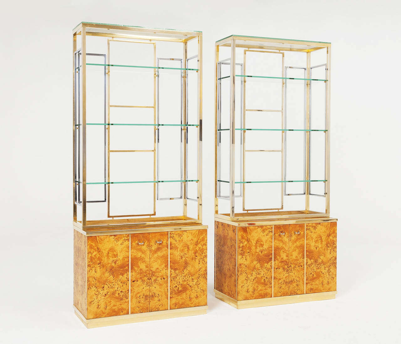 Set of two mappa burlwood cabinets for sale at 1stdibs for Upper cabinets for sale