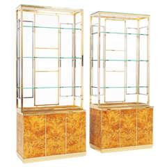 Italian Mappa Burlwood Set of Cabinets