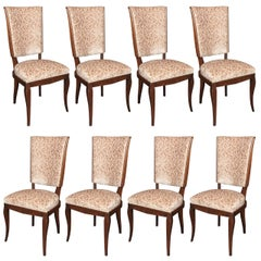 Expressive Set of 8 French Art Deco Chairs