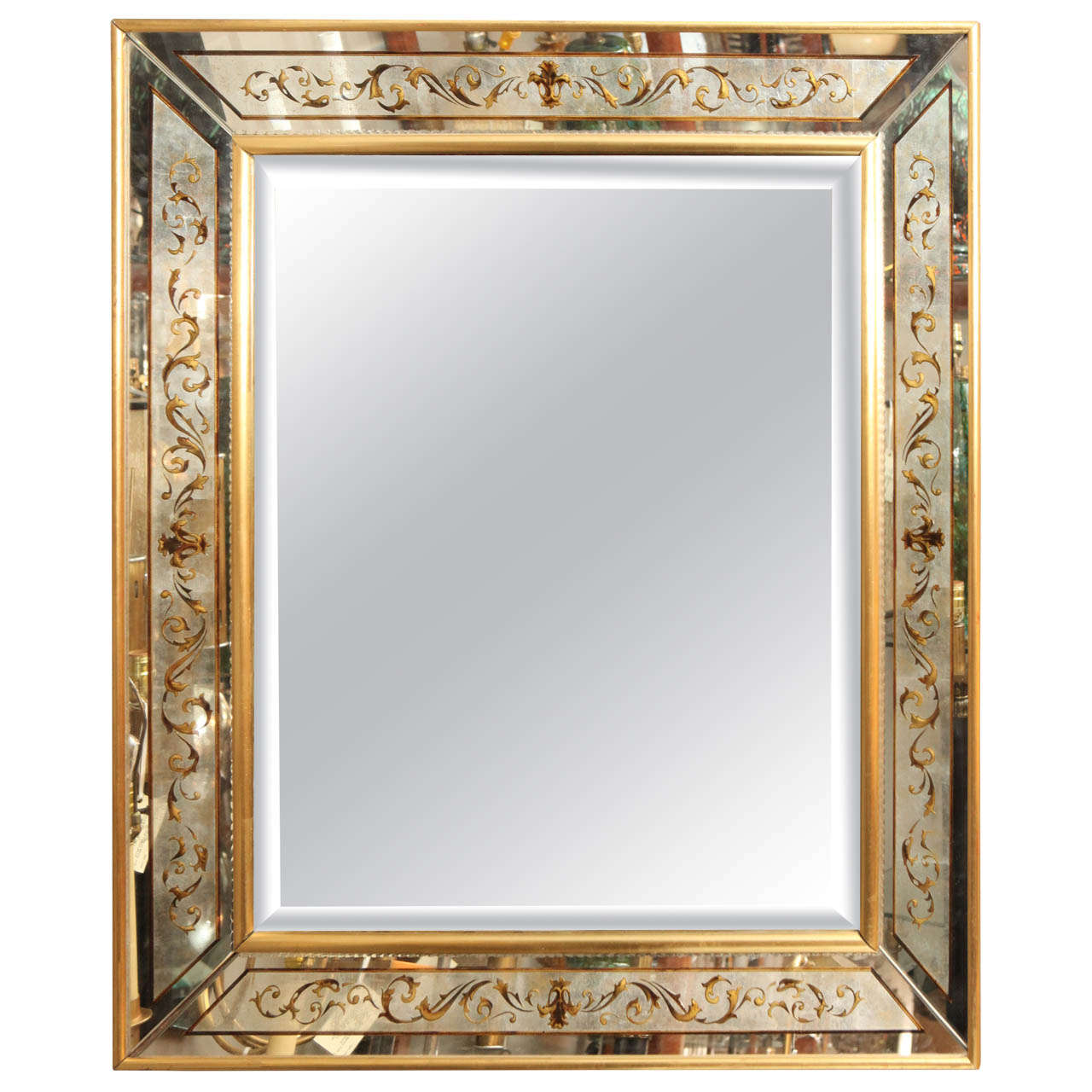 elegant eglomise mirror at 1stdibs