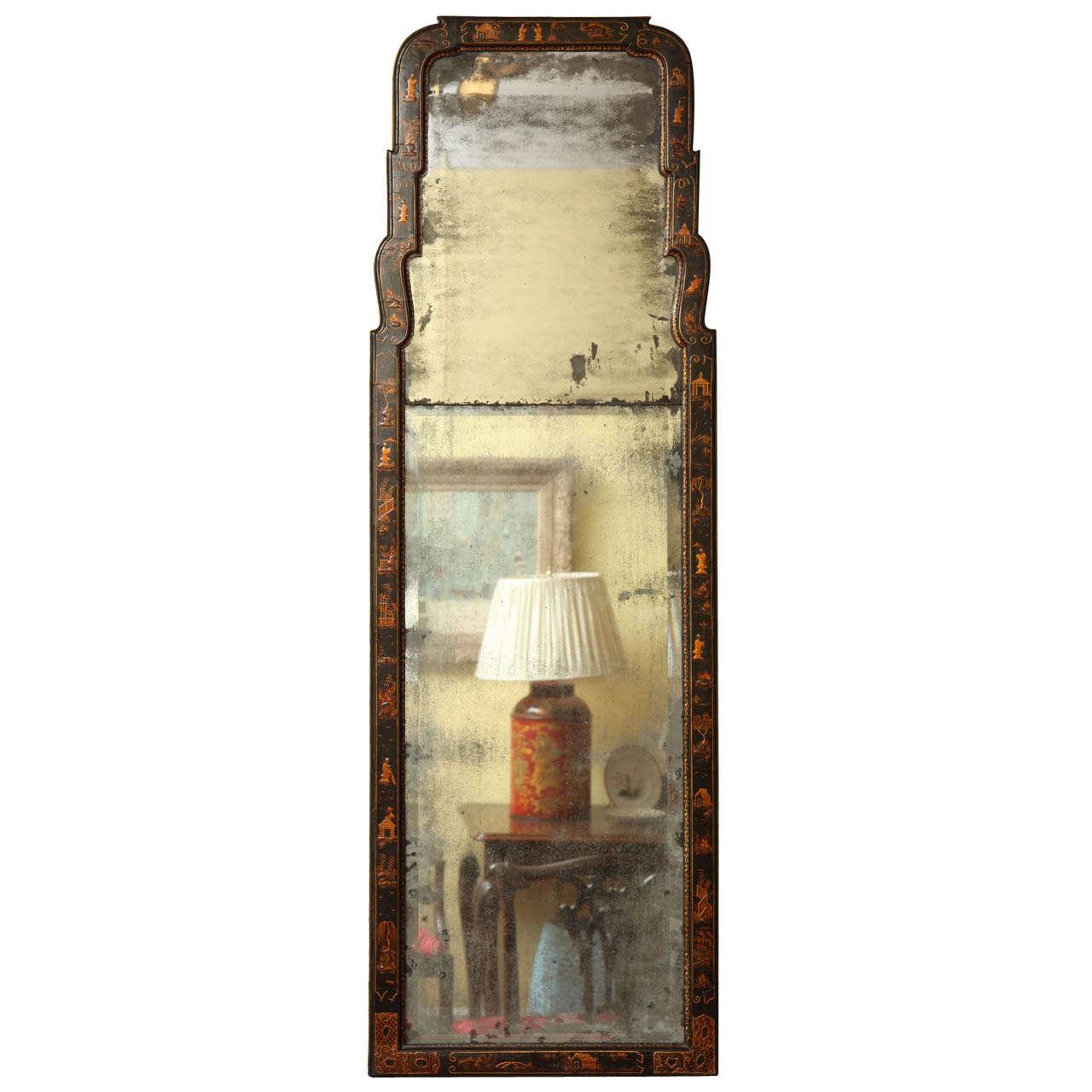 Queen Anne Period Japanned Pier Mirror, English, Circa 1715 For Sale