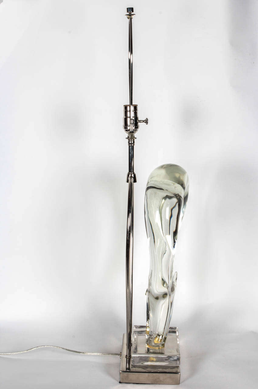 Seguso Sculptural Murano Glass Lamps In Excellent Condition For Sale In New York, NY