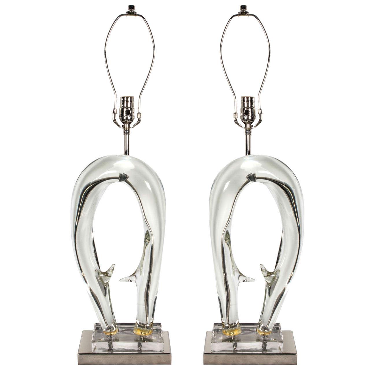 Seguso Sculptural Murano Glass Lamps