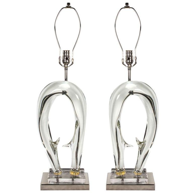 Seguso Sculptural Murano Glass Lamps For Sale