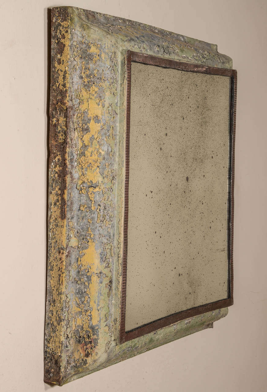 Antique Painted Zinc Mirror 7