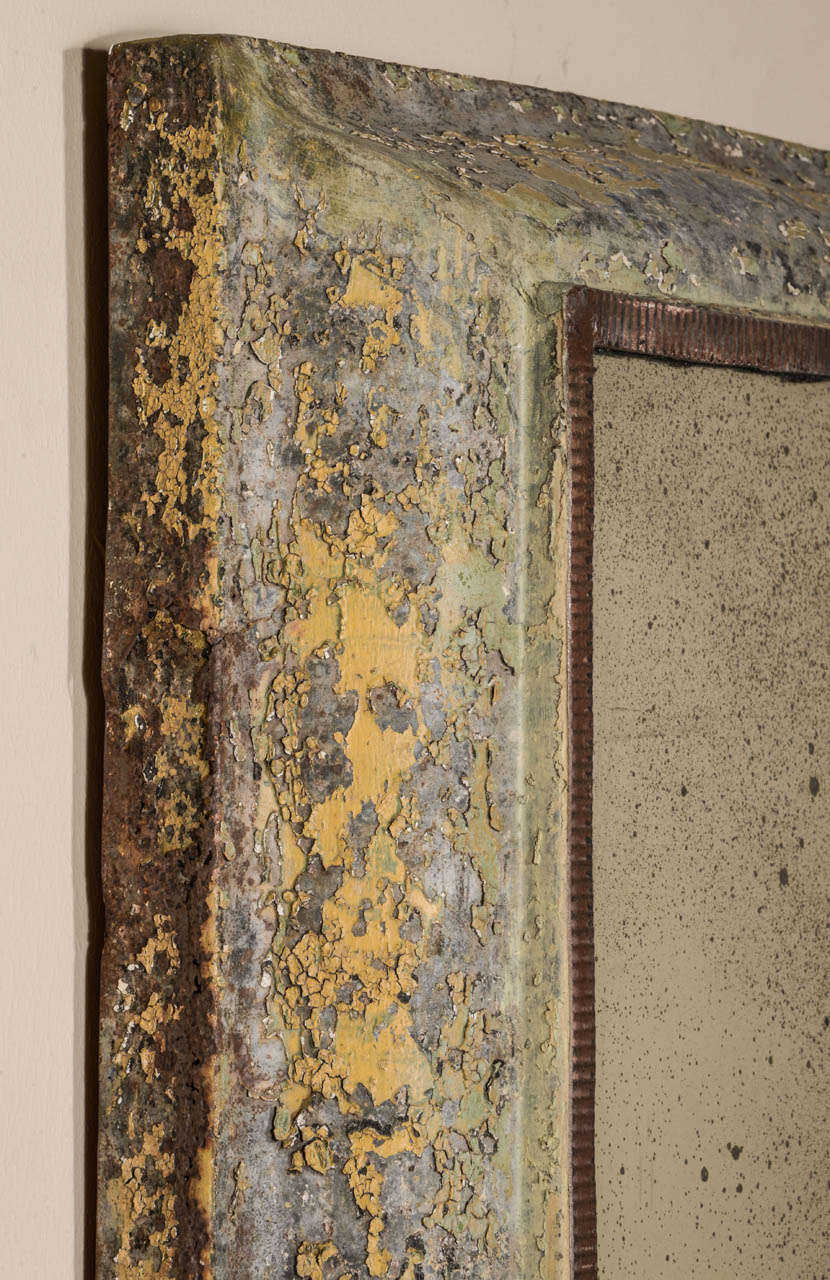 Antique Painted Zinc Mirror 8