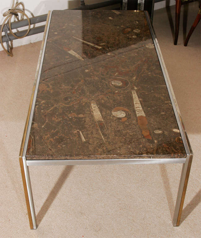 A Fine 20th Century Marble And Brass Coffee Table For 2