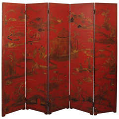 19th Century Red Lacquer Five-Panel Screen