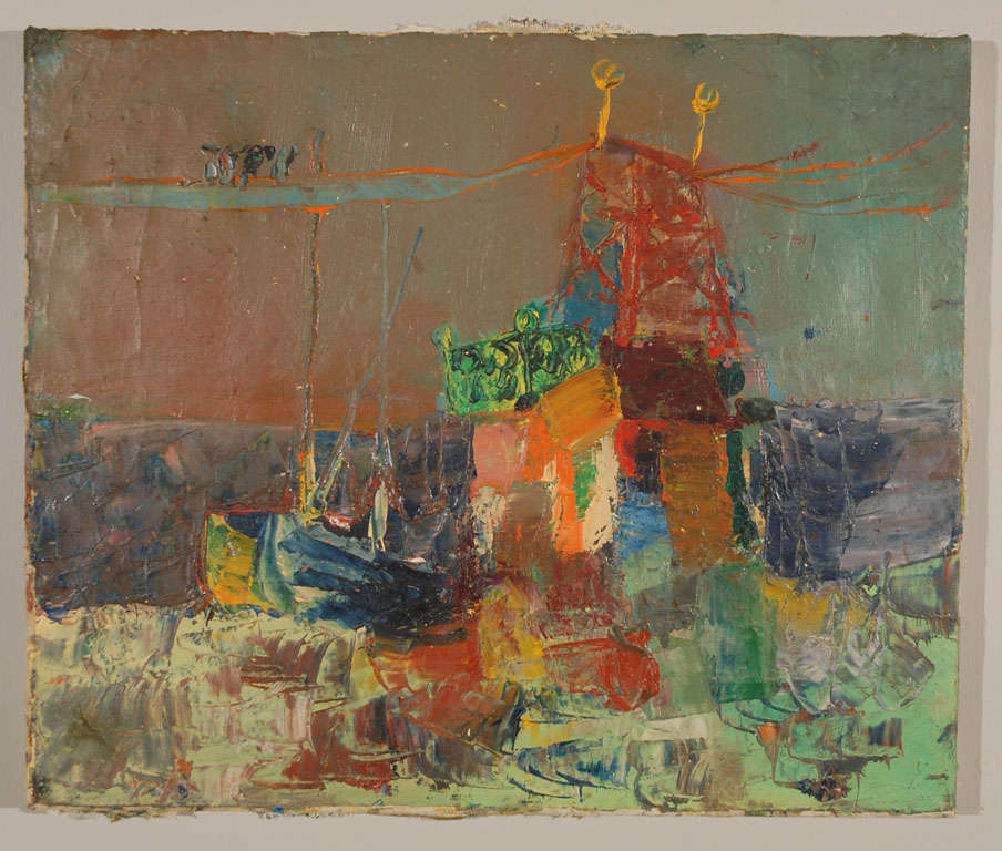 An seascape with abstract layered imagery and lively textures. Oil on canvas, unframed (unsigned).