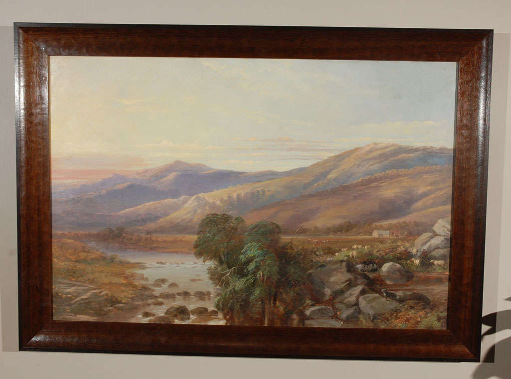 A scenic landscape with a river in soft light. Oil on canvas in wood frame, unsigned.