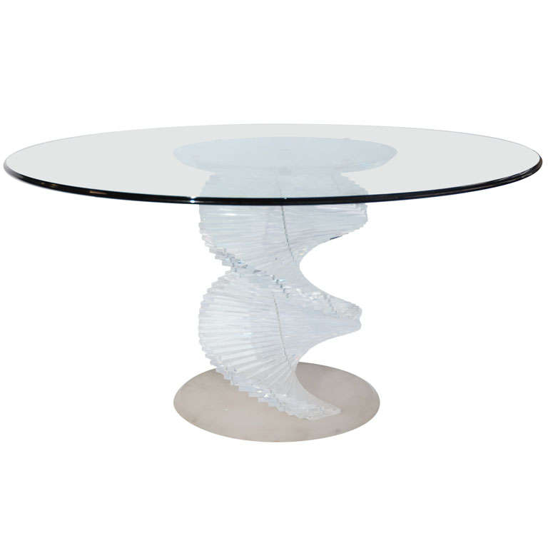 Spiraling Lucite Center Table