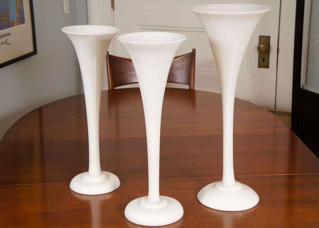 Opaline Glass Trumpet Form Vases At 1stdibs