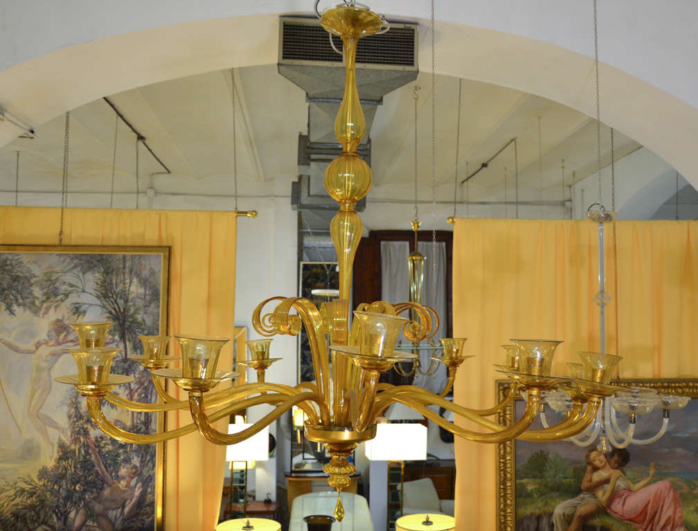 large murano glass chandelier by pauly murano at 1stdibs