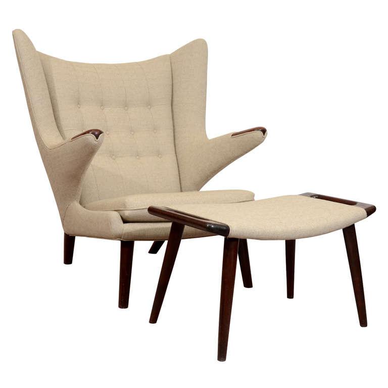 Awe Inspiring Mid Century Danish Modern Papa Bear Chair And Ottoman By Ibusinesslaw Wood Chair Design Ideas Ibusinesslaworg