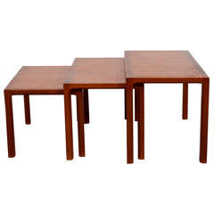 Set of Three Mid Century Danish Teak Nesting Tables