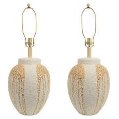 Pair of Mid-Century Textured Ceramic Table Lamps