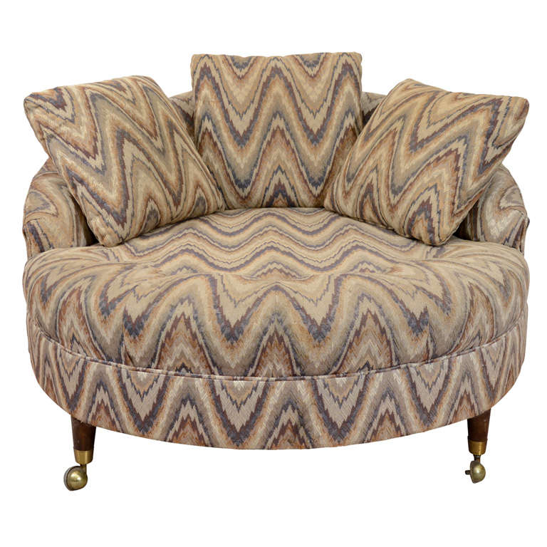 Mid Century Circular Lounge Chair in the Style of Milo Baughman at 1stdibs