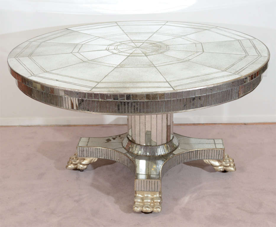 Vintage Circular Pedestal Base Dining Table With Mirror