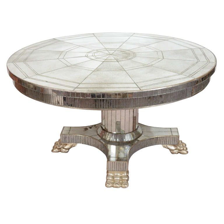 Vintage Circular Pedestal Base Dining Table With Mirror Surface For