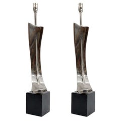 Pair of Mid Century Sculptural Chrome Lamps