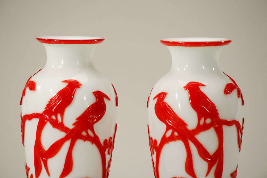 Pair of Chinese Peking Glass Red Overlay Vases with Birds In Excellent Condition For Sale In Great Barrington, MA