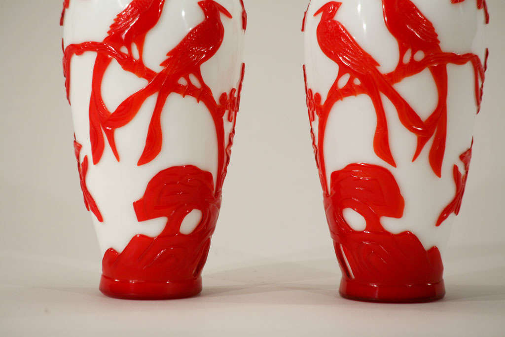 20th Century Pair of Chinese Peking Glass Red Overlay Vases with Birds For Sale