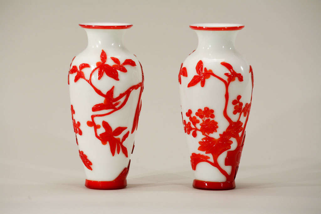 Crystal Pair of Chinese Peking Glass Red Overlay Vases with Birds For Sale