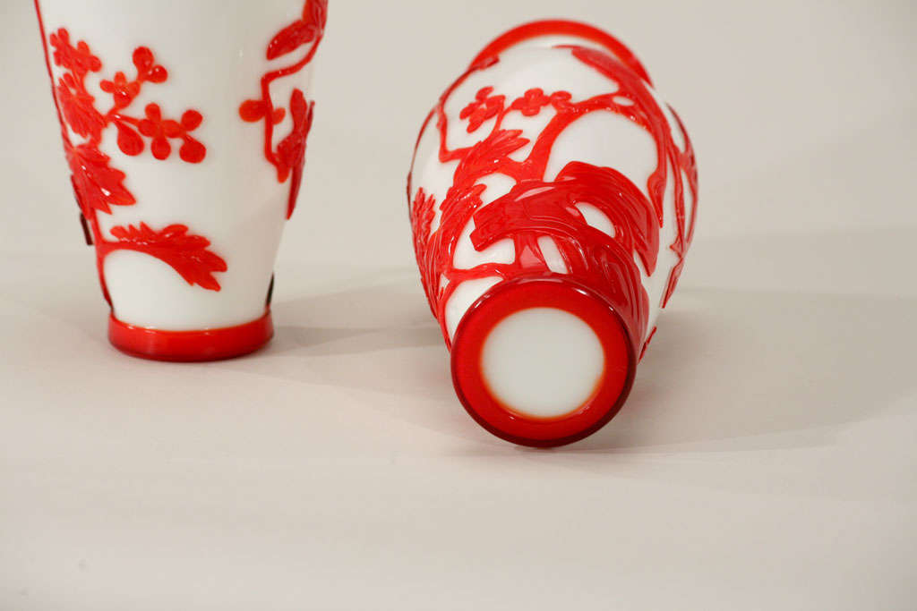 Pair of Chinese Peking Glass Red Overlay Vases with Birds For Sale 3