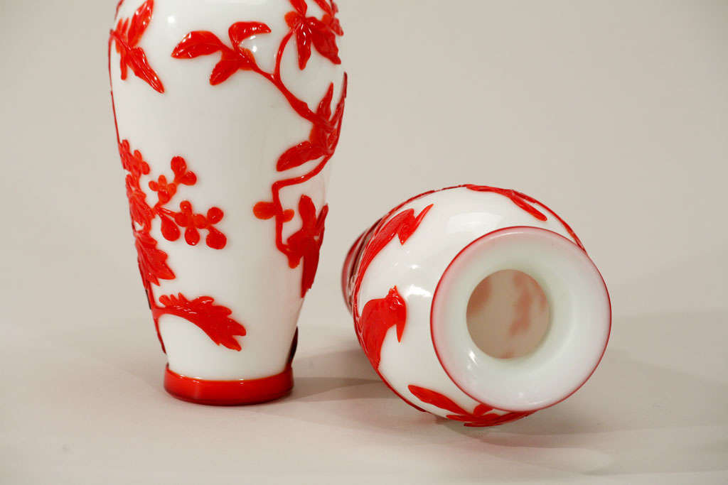 Pair of Chinese Peking Glass Red Overlay Vases with Birds For Sale 4
