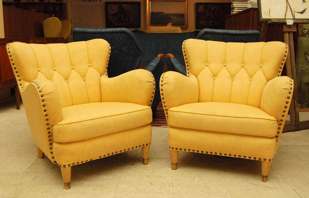 Pair of Yellow Club Chairs 2