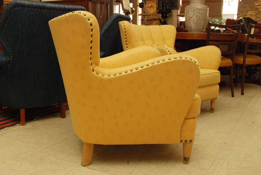 Pair of Yellow Club Chairs 3