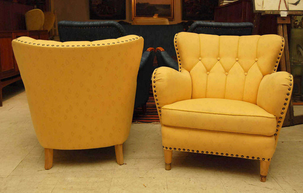 Pair of Yellow Club Chairs image 7