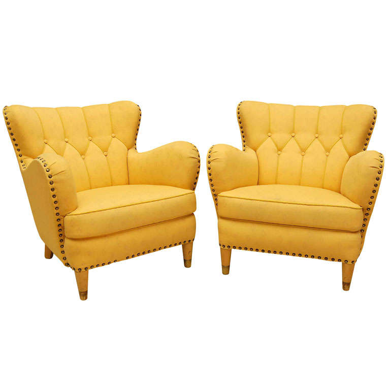 Pair of Yellow Club Chairs at 1stdibs