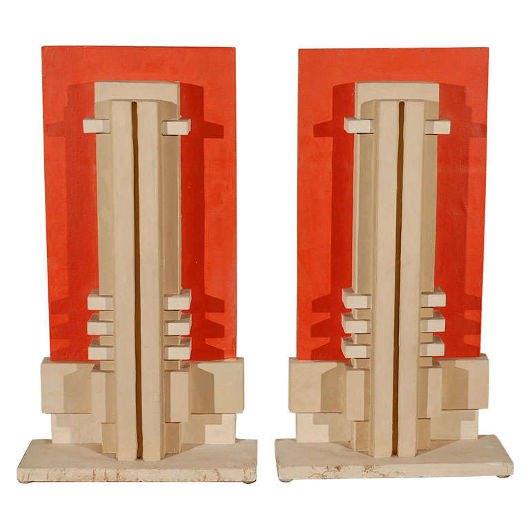 Pair 1930 39 s art deco plaster architectural castings at 1stdibs for Deco 5 elements