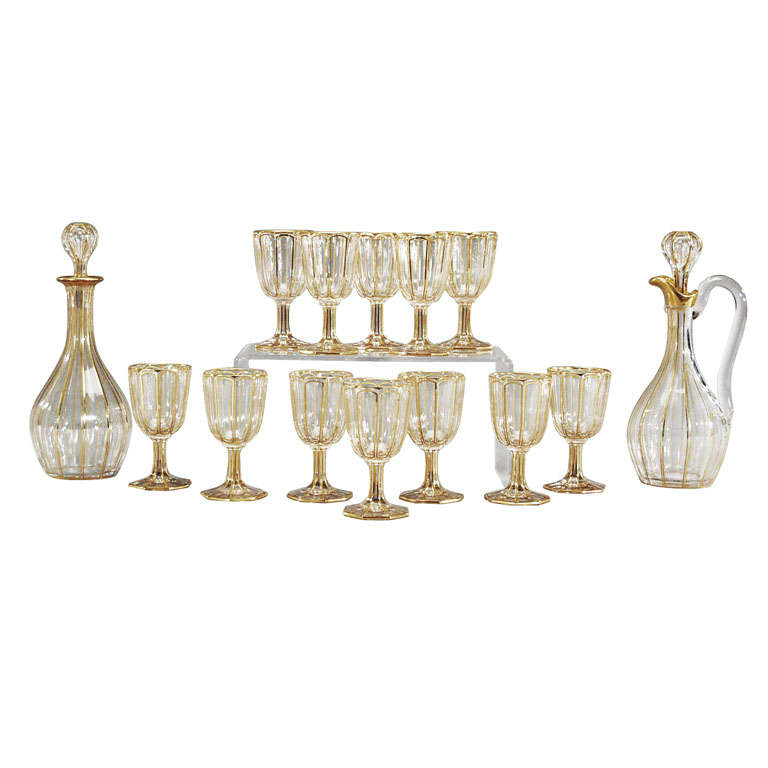 Set of 2 Baccarat Gilded Decanters with 12 Matching Ports